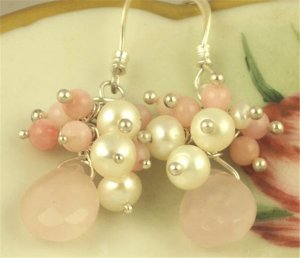 R O S A N N A - - Pale Pink Opal Beads, Freshwater Pearls, Rose Quartz and Silver Earrings