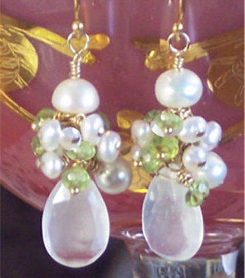 J O S E T T E - - Moonstone, Peridot, Freshwater Pearls and Gold Earrings