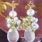 J O S E T T E - - Moonstone, Peridot, Freshwater Pearls and Gold Earrings