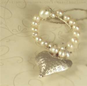 M A R T I N E - - Sterling Silver and White Pearls Heart Pendant on a Sterling Silver Chain