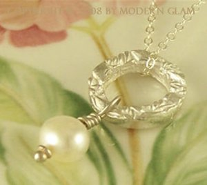 E L I Z A B E T H - - Fine Silver and Pearl Drop Necklace