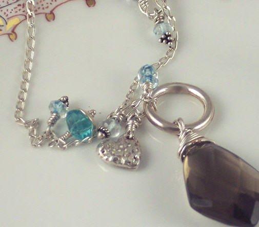 P A U L E T T E - - Smoky Quartz, Apatite, Swiss Blue Topaz, and Fine Silver Necklace