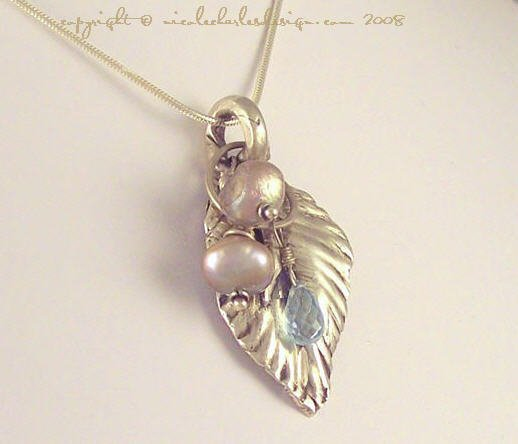 J O L I E - - FIne Silver Hand-Sculpted Leaf, Pearls and Swiss Blue Topaz on a Sterling Silver Chain