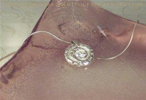A U R O R E - - Organic Fine Silver and White Cubic Zirconia Pendant on Sterling SIlver Chain