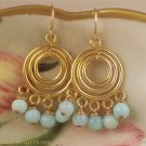 H A N N E - - Spring/Summer Color in Peruvian Blue Opal and Gold Vermeil Chandelier Earrings