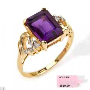 14K Gold 2 Carat Amethyst Diamond Ring