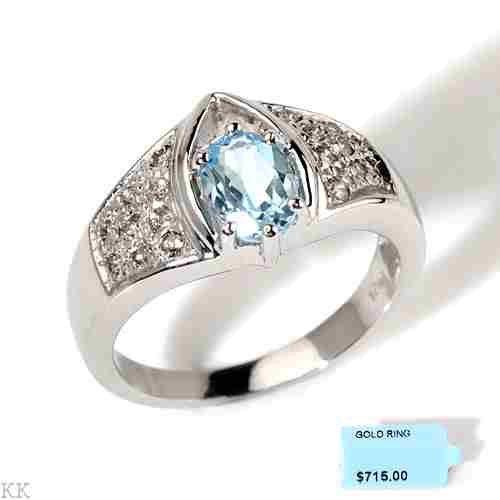 14K White Gold Blue Topaze Diamond Ring