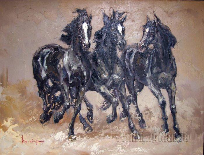 Three Black Horses Knife Painting oil on canvas