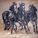 Three Black Horses Knife Painting oil on canvas