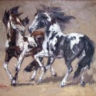 Two Horses Hand Painted Knife Painting oil on canvas