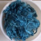 Teal blue mohair hand spinning felting crafting fiber