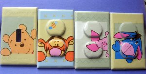 LIGHT SWITCH COVERS M/W  KIDSLINE SOFT & FUZZY POOH