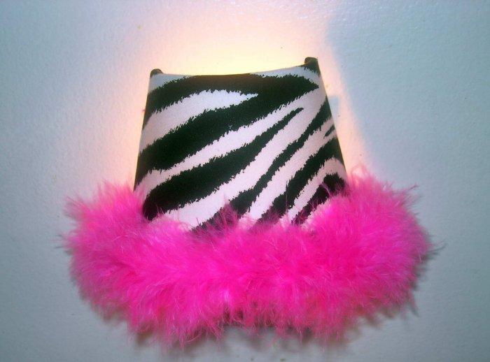 Custom zebra night light with hot pink boa