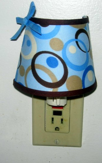 NIGHT LIGHT M/W GEORGE BABY BLUE BROWN SWIRL CIRCLE FABRIC