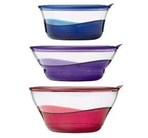 TUPPERWARE SHEERLY ELEGANT BOWL SET (3) RED, PURPLE, BLUE