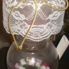 """New Custom Made """"GLASS CANDLE HOLDER"""" Roses w/candle"""