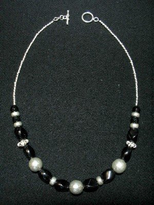 Handcrafted Silver Jewelry - Handmade .950 Silver Necklace with Black Colored Murano