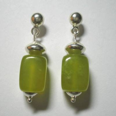 .950 Pure Silver Earrings with Serpentine
