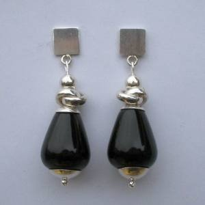 .950 Pure Silver Earrings with Black Onyx