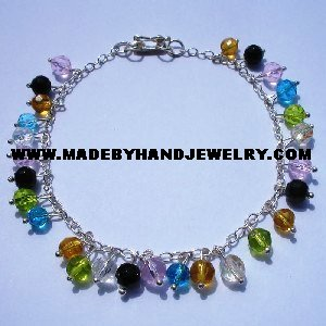 Handmade .950 Silver Anklet with multi-color Murano
