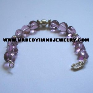 Handmade .950 Silver Bracelet with Grape colored Murano
