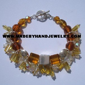 Handmade .950 Silver Bracelet with Clear and Amber Murano