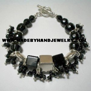 Handmade .950 Silver Bracelet with Black Murano