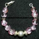 Handmade .950 Silver Bracelet with Pink colored Murano