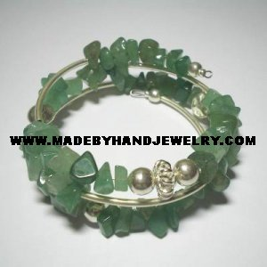 .950 Silver 3 Turn Bracelet with Green Jade *EMAIL SIZE FOR AVAILABILITY AND PRICE*
