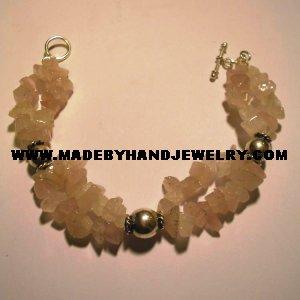 Handmade .950 Silver Bracelet with Pink Quartz