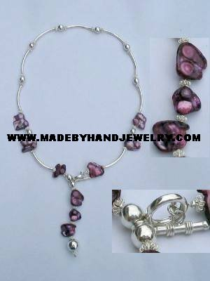 .950 Silver Necklace with Nacar *EMAIL SIZE FOR AVAILABILITY AND PRICE*