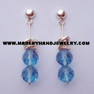 .950 Pure Silver Earrings with Light Blue Murano