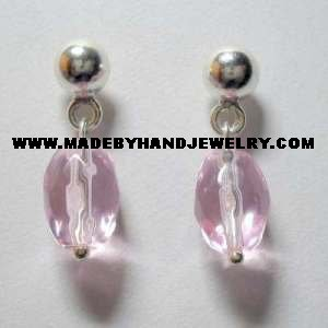 .950 Pure Silver Earrings with Pink colored Murano