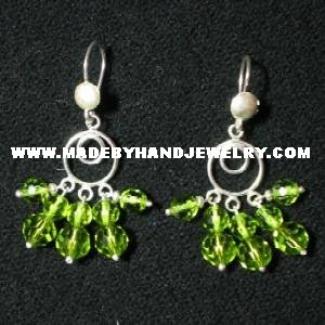 .950 Pure Silver Earrings with Green colored Murano