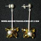 .950 Pure Silver Earrings with Amber colored Murano