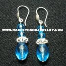 .950 Pure Silver Earrings with Turqoise colored Murano