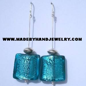 Handmade .950 pure silver earrings with Turqoise colored Murano crystal