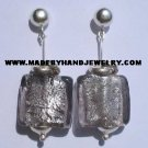 Handmade .950 Pure Silver Earrings with Gray Murano