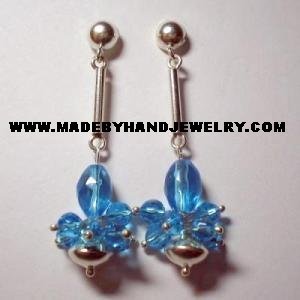Handmade .950 Pure Silver Earrings with Light Blue Murano