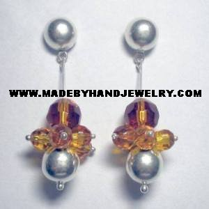 Handmade .950 Pure Silver Earrings with Amber colored Murano
