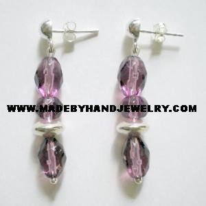 Handmade .950 Pure Silver Earrings with Lavander Murano
