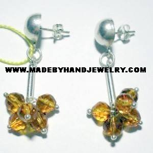 Handmade .950 Silver Earrings with Amber colored Murano
