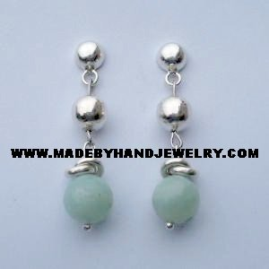 .950 Pure Silver Earrings with Light Blue Agate