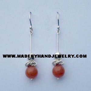 .950 Pure Silver Earrings with Carnelina