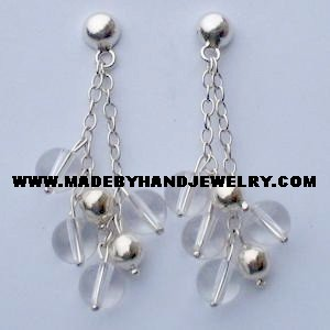 .950 Pure Silver Earrings with Crystal Quartz
