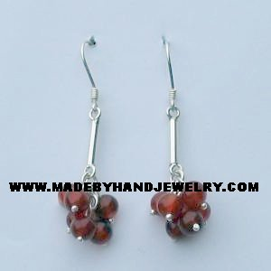 .950 Pure Silver Earrings with Brown Agate
