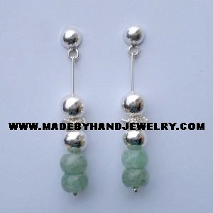 .950 Pure Silver Earrings with Aventurine
