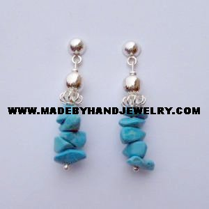 .950 Pure Silver Earrings with Turqoise Stone