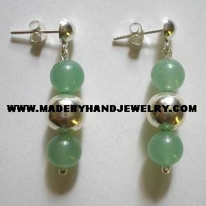 .950 Pure Silver Earrings with Green Jade
