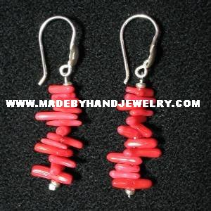 .950 Pure Silver Earrings with Red Coral
